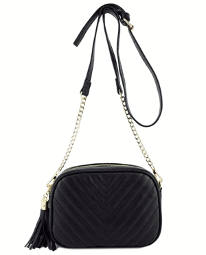Crossbody Shoulder Bag with Metal Chain Strap