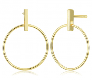 Small Bar Front Hoop Earrings