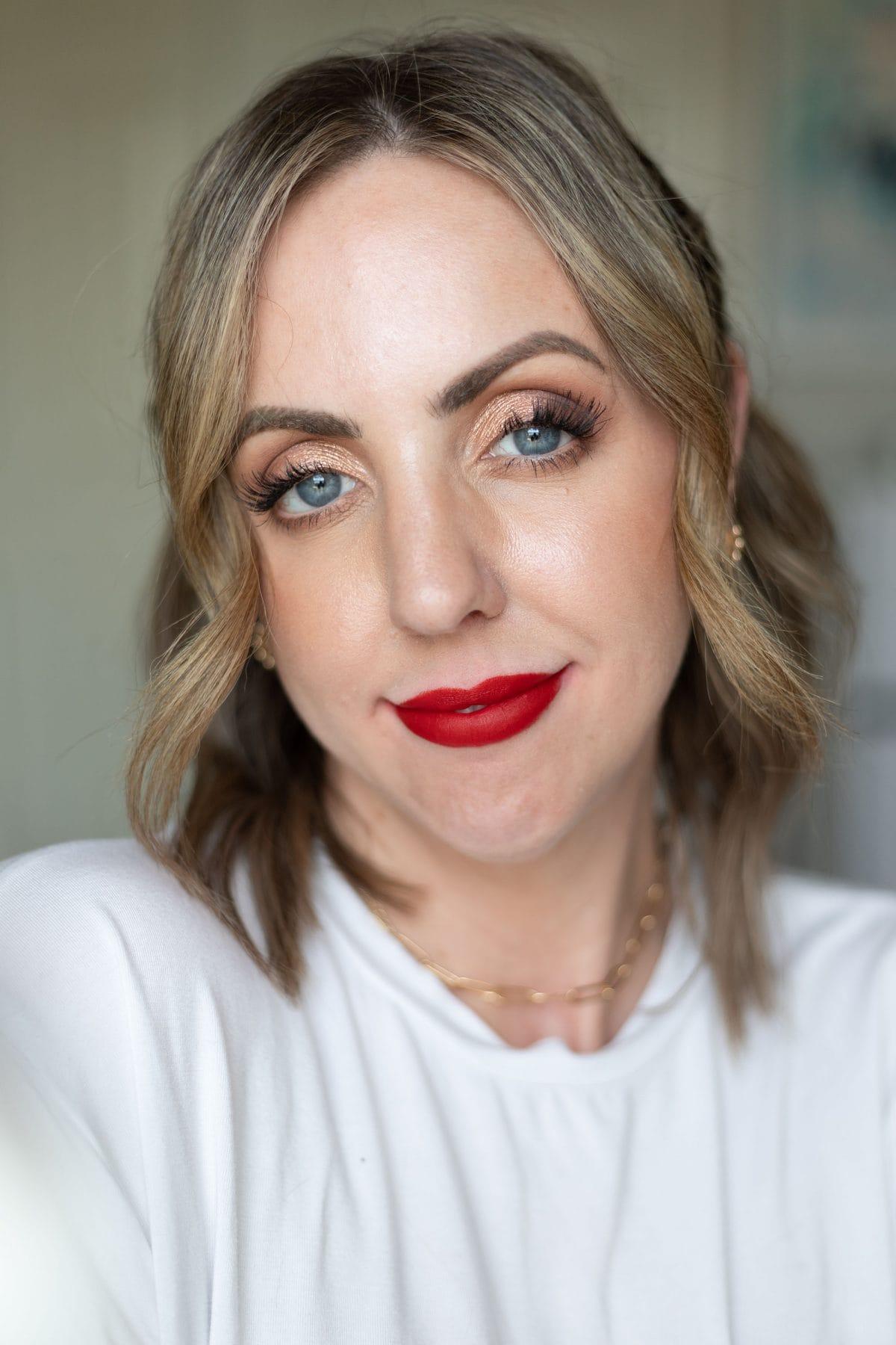 Maybelline Ultimatte Slim Lipstick in More Scarlet lip swatch