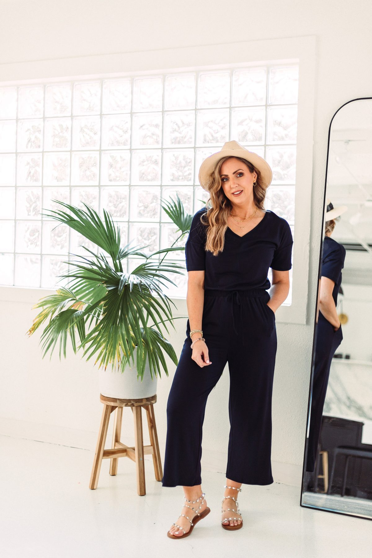 Texas influencer Meg O. shares Amazon fashion basics for spring and summer 2021 - this navy wide leg cropped jumpsuit is flattering and comfy!