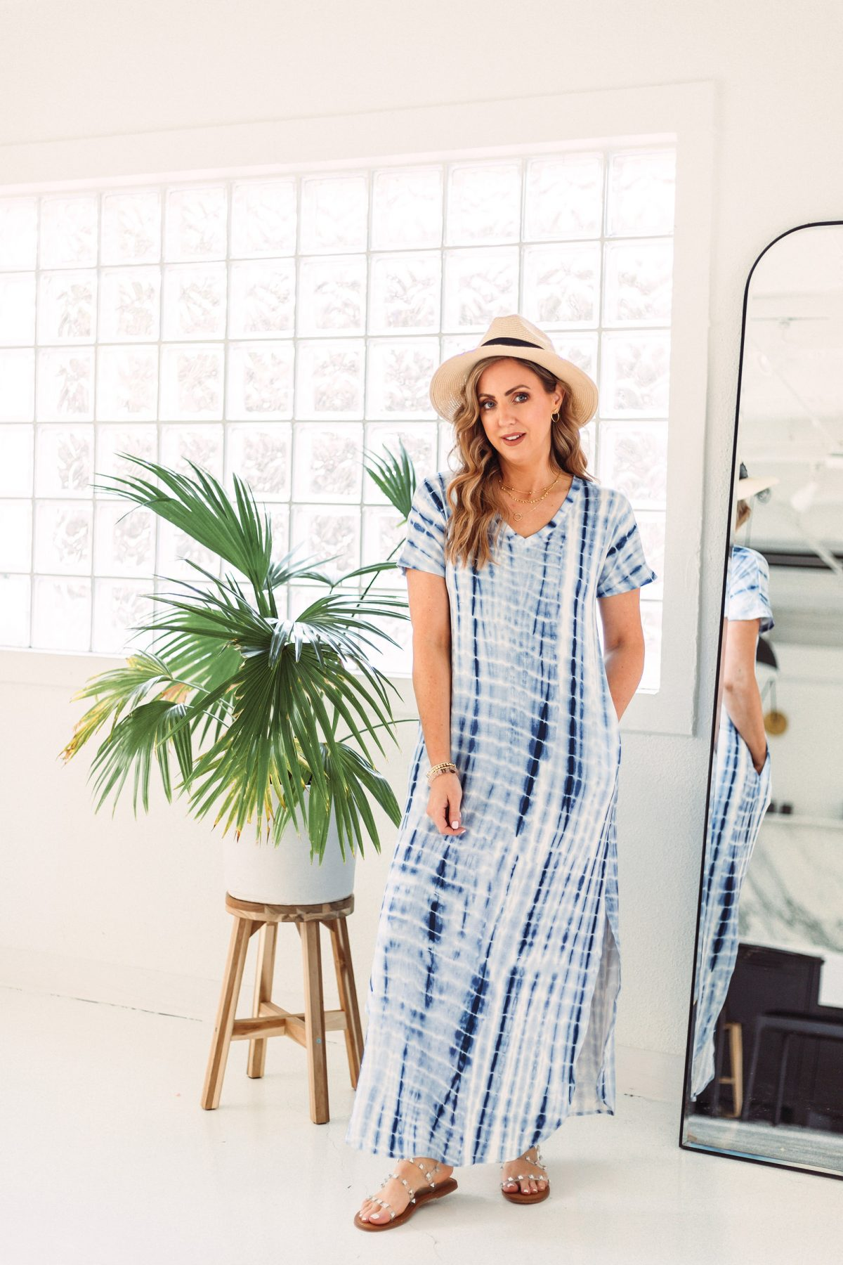 Texas influencer Meg O. shares Amazon fashion basics for spring and summer 2021 - this blue tie dye maxi dress is on trend and perfect for the beach.