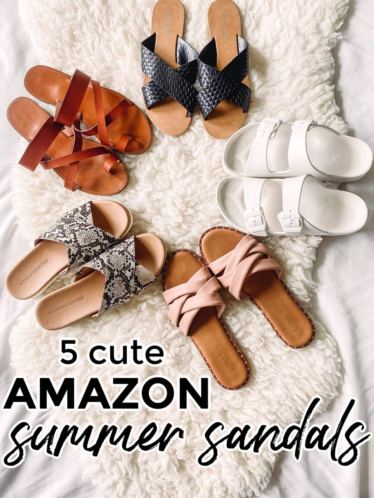 Houston lifestyle influencer Meg O. shares cute Amazon sandals for summer 2021. Which one is your favorite?