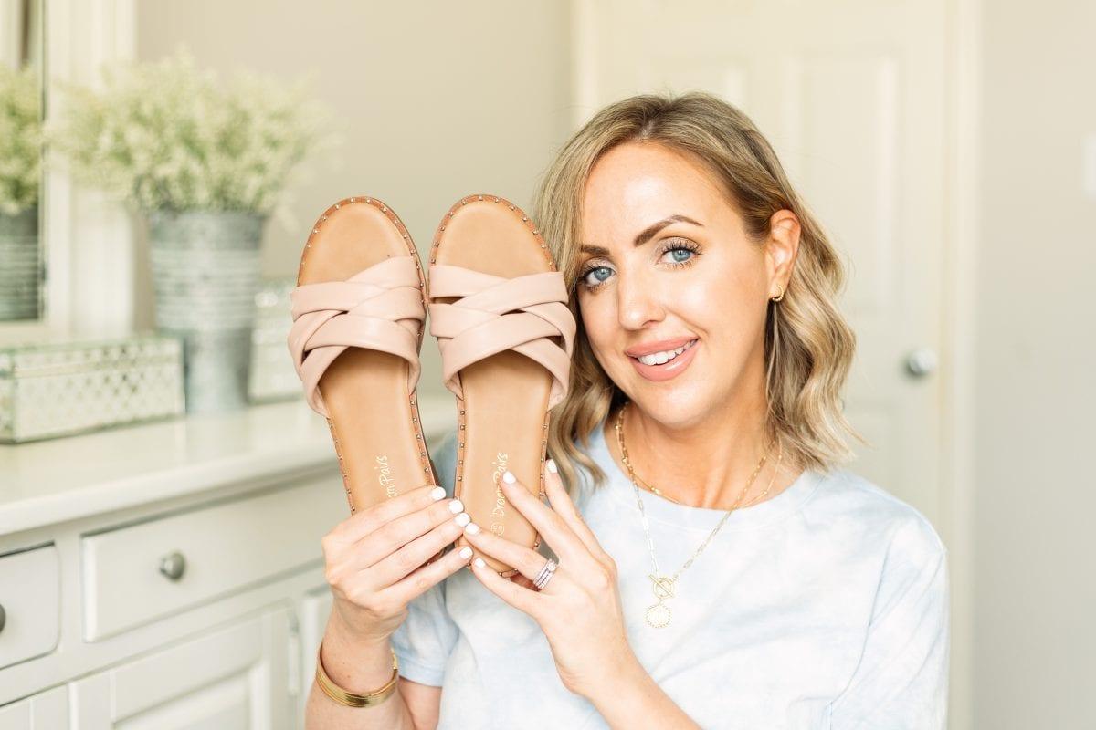 Texas influencer Meg O. shares cute Amazon sandals for summer 2021. Love Amazon criss cross studded slide sandals.